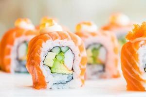 Sushi salmon roll photo