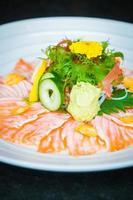 Carpaccio salmon in white plate photo