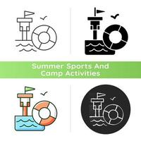 Lifeguarding training icon. First aid. Water emergencies prevention and responding. Preparation for potential saving lives. Linear black and RGB color styles. Isolated vector illustrations