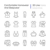 Comfortable homewear and sleepwear linear icons set. Female nightwear. Male sportswear. Funny slippers. Customizable thin line contour symbols. Isolated vector outline illustrations. Editable stroke