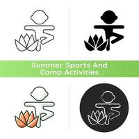 Kids yoga icon. Enhancing children mindfulness, concentration. Breathing techniques. Mental and physical wellbeing improvement. Linear black and RGB color styles. Isolated vector illustrations