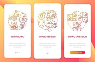Brand identity change onboarding mobile app page screen with concepts. Rebranding, brand refresh walkthrough 3 steps graphic instructions. UI, UX, GUI vector template with linear color illustrations