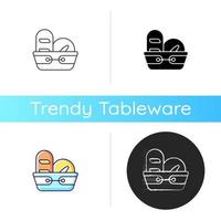 Bread basket icon. Container for storing bakery products. Specialy designed kitchen equipment. Dinnerware for everyday usage. Linear black and RGB color styles. Isolated vector illustrations