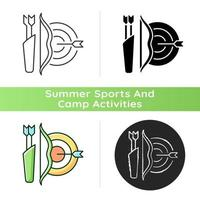 Archery icon. Using bow to shoot arrows. Hunting and recreational activity. Hitting target from distance. Competitive sport. Linear black and RGB color styles. Isolated vector illustrations