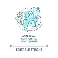 Aboriginal communities development concept icon. Society progress abstract idea thin line illustration. Building local indigenous organisations. Vector isolated outline color drawing. Editable stroke