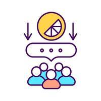icono de color rgb de comentarios de los clientes. identificar las actitudes de los clientes. ilustración vectorial aislada. gestión de marca. atracción de clientes potenciales. aumento de la conciencia de la marca dibujo lineal relleno vector