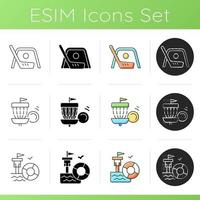 Summer camp activities icons set. Street hockey. Frisbee golf. Lifeguarding training. Indoor, outdoor game. First aid. Disc golf. Linear, black and RGB color styles. Isolated vector illustrations