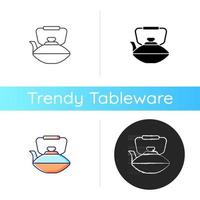 Chinese iron teapot icon. National types of dinnerware. Old fashioned kitchen equipment. Container for boiling water. Linear black and RGB color styles. Isolated vector illustrations