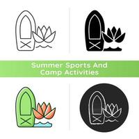 Stand up paddle board yoga icon. Doing workout on wobbly surface. Practicing mindfulness. Enjoying paddle boarding. SUP yoga practice. Linear black and RGB color styles. Isolated vector illustrations