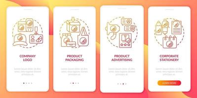 Corporate branding onboarding mobile app page screen with concepts. Logo, packaging walkthrough 4 steps graphic instructions. UI, UX, GUI vector template with linear color illustrations
