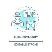 Rural community concept icon. Communities types abstract idea thin line illustration. Country life. Villages and small towns. Rural households. Vector isolated outline color drawing. Editable stroke