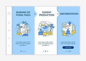 Anthropogenic carbon emissions onboarding vector template. Responsive mobile website with icons. Web page walkthrough 3 step screens. Cement production color concept with linear illustrations