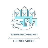 Suburban community concept icon. Communities types abstract idea thin line illustration. Peri-urban areas. High socioeconomic status. Vector isolated outline color drawing. Editable stroke