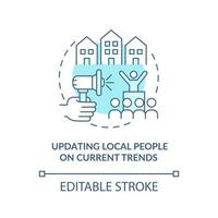 Updating local people on current trends concept icon. Society progress abstract idea thin line illustration. Notification through social media. Vector isolated outline color drawing. Editable stroke