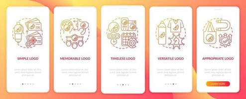 Effective logo design onboarding mobile app page screen with concepts. Simple, memorable logo walkthrough 5 steps graphic instructions. UI, UX, GUI vector template with linear color illustrations