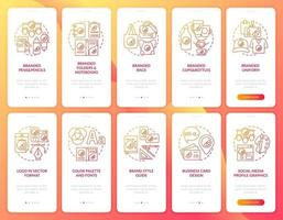 Corporate identity onboarding mobile app page screen with concepts set. Brand logo creation walkthrough 5 steps graphic instructions. UI, UX, GUI vector template with linear color illustrations
