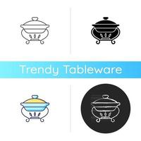 Warming tray icon. Chafing dish for storing foods. Container which keeps meals warm. Everyday kitchenware equipment. Linear black and RGB color styles. Isolated vector illustrations