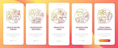 Corporate branding services onboarding mobile app page screen with concepts. Logo in vector format walkthrough 5 steps graphic instructions. UI, UX, GUI vector template with linear color illustrations