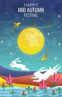 Lovely Rabbit and Happy Mid Autumn vector