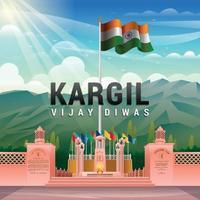 Kargil War Memorial Concept vector