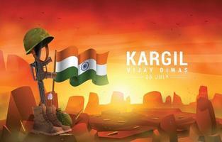 Kargil Vijay Diwas Tribute to India Heroes Concept vector