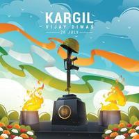 Kargil Vijay Diwas Soldier Helmet and Rifle Monument vector