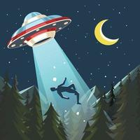 UFO Abducts Human In The Night Sky vector