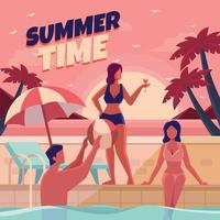Spending Leisure Time at Swimming Pool vector