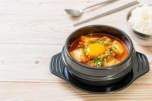 Kimchi Jjigae or Kimchi Soup with Tofu and Egg or Korean Kimchi Stew photo