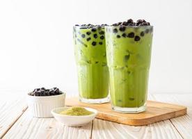Matcha green tea latte with bubble photo