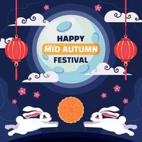 Mid Autumn Festival Concept with Cute Rabbits vector