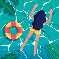 Girl Enjoying Summer at Swimming Pool vector