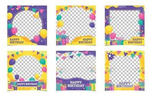 Set of Birthday Frame Twitbon Template vector