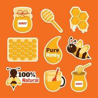 Honey Sticker Template set vector