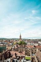 High angle view of High Street of Oxford City UK photo