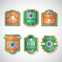 India Independence Day Vintage Badges vector