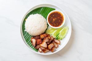 Panceta frita con arroz con salsa picante al estilo asiático foto