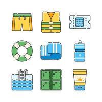 Summer Swimming Activity Icon Set vector