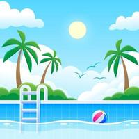 Tropical Swimming Pool View with Palm Tree Background vector