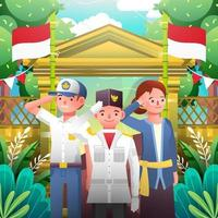 Indonesia Independence Day Man Woman Teenager Salute Ceremony vector