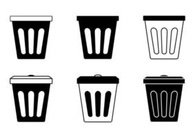 Trash bin, plastic. Collection baskets for garbage. Waste container. Trash cans in glyph for office or toilet. Simple black color icons of garbage baskets. Vector