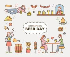 beer day. People drinking beer in pub and various food icons. flat design style minimal vector illustration.