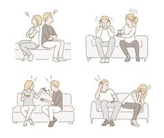A couple is sitting on the sofa and arguing. hand drawn style vector design illustrations.