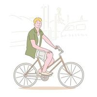 A man is riding a bicycle and smiling. hand drawn style vector design illustrations.