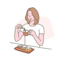 A woman is brewing coffee and trying to eat it with dessert. hand drawn style vector design illustrations.