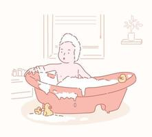 The baby is bathing in the bathtub. hand drawn style vector design illustrations.