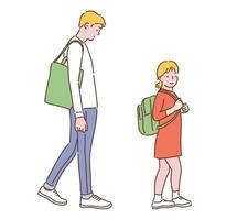 A man and a girl with green bags. hand drawn style vector design illustrations.