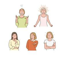 Stressed and angry female character. hand drawn style vector design illustrations.