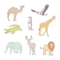African animals. hand drawn style vector design illustrations.