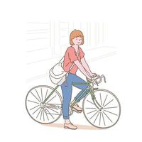 A woman stops for a moment while riding a bicycle. hand drawn style vector design illustrations.